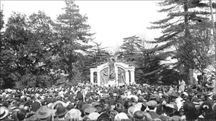Titanic Engineers Memorial unveiling in 1914. Picture: Ulster Folk and Transport Museum