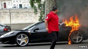 Burning Ferrari 458