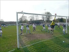 Guiseley AFC in action at Nethermoor Park