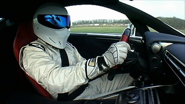 The Stig driving a car