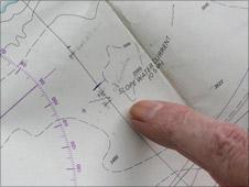 John Pierce identifies the location of the Titanic on a chart