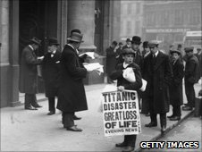 Newspapers announce the sinking of the Titanic