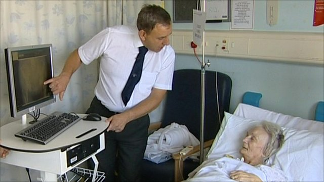 Elderly patient in bed
