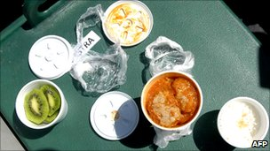A sample of the first hot meal sent to the trapped miners