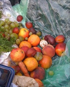 Mix of fruit and veg in bin