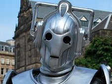 Cyberman from Doctor Who in Sheffield Peace Gardens
