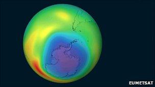 Ozone 'hole' (Eumetsat)