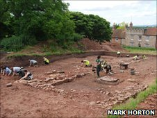 Excavations at Berkeley Castle during 2010, exposing parts of the Anglo-Saxon monastery (Photo: Mark Horton)