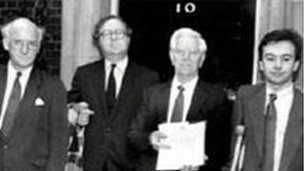 Lord Ashley delivering a petition to 10 Downing Street