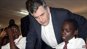 Gordon Brown on a visit to Uganda in June