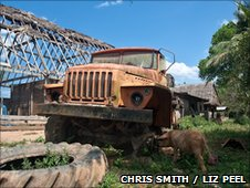 A rusting truck in the Bolivian village of Manchester
