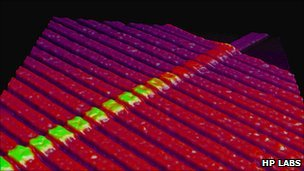 Memristors seen in an AFM image