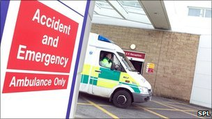 Ambulance at hospital A&E department