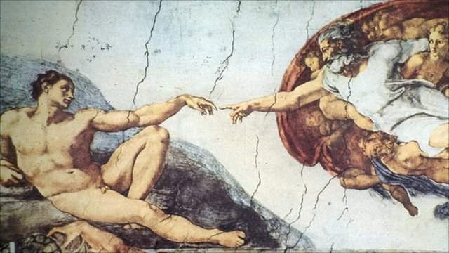 Part of the The Creation of Adam on Michelangelo&#039;s Sistine Chapel ceiling 
