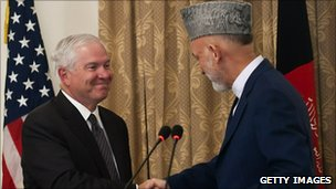President of Afghanistan Hamid Karzai (R) shakes hands with U.S. Secretary of Defense Robert Gates (L) during a joint press conference at the Presidential Palace September 2, 2010 in Kabul, Afghanistan