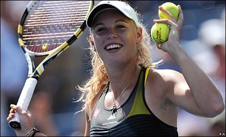 Caroline Wozniacki in action