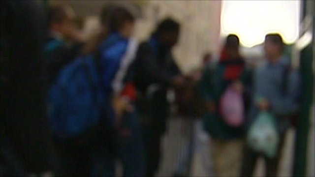 Blurred out image of a group of children
