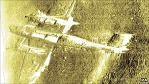 Underwater scan of the Dornier 17 on Goodwin Sands off the Kent coast