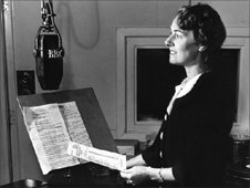 Announcer Elsie Otley in the Bristol continuity studio in 1948