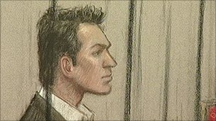 Court sketch of Daniel Houghton