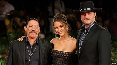 Danny Trejo, Jessica Alba and Robert Rodriguez Machete was shown at Venice ...