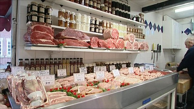 Meat on display at a butchers
