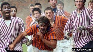 Eton pupils playing the traditional 'wallgame'
