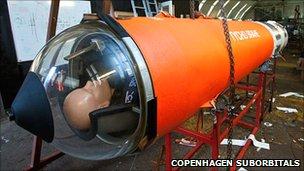 Dummy in spacecraft (Copenhagen Suborbitals)