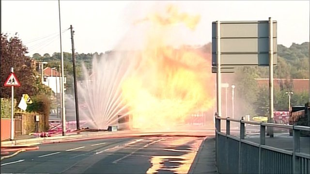 Gas mains fire in Leeds