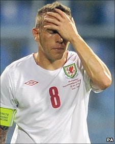 Wales captain Craig Bellamy shows his frustration in Montenegro