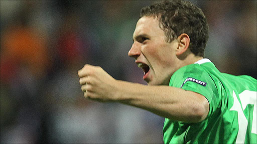 Northern Ireland&amp;apos;s goalscorer Corry Evans