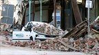 A car crushed by bricks in Christchurch, New Zealand, on 4 September 2010