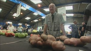 Peter Glazebrook with his giant potatoes