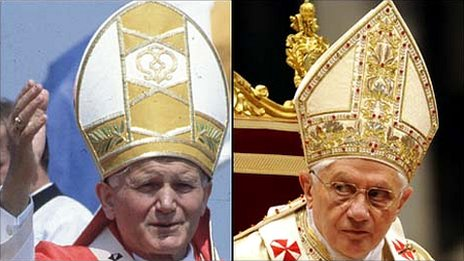 Composite image of Pope John Paul II in 1982 (left) and Benedict XVI in 2010