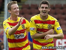Partick Thistle celebrate Kris Doolan's (right) opening goal