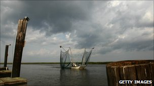 Fishing boat on the first day of the shrimping season, Louisiana