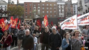 Protesters outside an Allied Irish Bank branch in Dublin