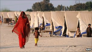 A tented relief camp for the flood victims in Pakistan, 5 September 2010