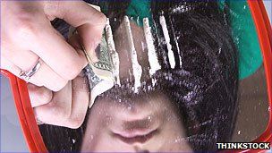 Woman using cocaine