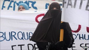 Burka-wearing demonstrator
