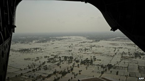 Flooded areas in Southern Punjab province