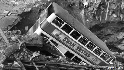 Double decker bus in bomb crater in Balham