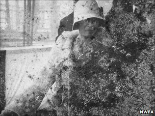 A newsreel film still showing fungal damage