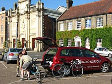 BBC Radio Norfolk's Bob Carter and riding partner Markos Janes riding The Tour of Britain route through Norfolk