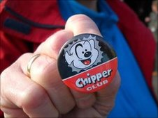 Chipper Club badge, with it's owner Sheila O'Driscoll