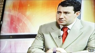 Riad al-Saray during an undated al-Iraqiya television broadcast