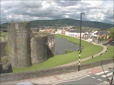 Caerphilly Castle - example of webcam image courtesy of Caerphilly CBC