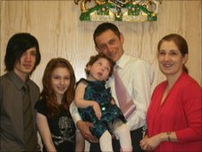 Kath pictured with her husband Carl and children Ben, Alice and Tia