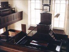 Interior of Hengoed Chapel