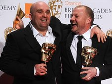 "Mark Herbert (right) and Shane Meadows with the award for Best British Film (""This Is England"") during the 2008 Orange British Academy Film Awards (BAFTAs) at the Royal Opera House in Covent Garden, central London. PA Photo. Joel Ryan/PA Wire"